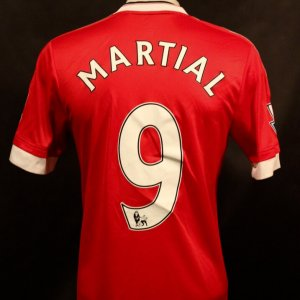 An Anthony Martial Game-Used Unwashed #9 Manchester United FC Home Shirt.  2015/16 EPL Season.