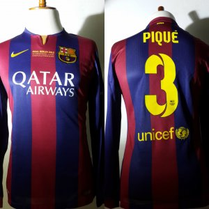 A Gerard Piqué Game-Used Unwashed #3 FC Barcelona Home Shirt 06/06/2015 Final UCL vs Juventus FC
