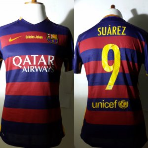 A Luis Suárez Game-Used Unwashed #9 FC Barcelona Home Shirt 04/02/2016 La Liga vs Real Madrid CF