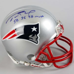New England Patriots - Tom Brady Signed & Inscribed Mini Helmet - COA TriStar