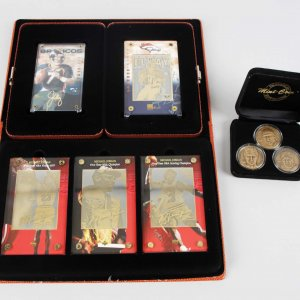 1997 Upper Deck - Chicago Bulls Michael Jordan 24K Gold Card Set, Highland Mint Coin Trio & John Elway Gold Cards