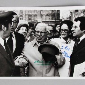 "Charlie Chaplin & Oona Chaplin  Signed 6"" x 8"" B&W Original Photo - JSA Full LOA"