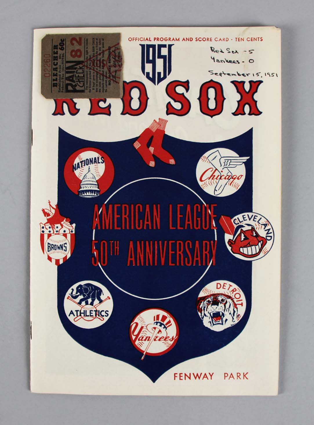 1951 Red Sox vs Yankees Score Card w/ Ticket Stub Mantle Rookie Year