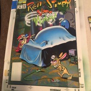 Ren & Stimpy 1993 Marvel Comic Book Art Signed by Artist
