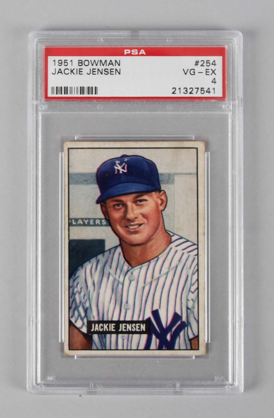 1951 Bowman Ny Yankees Jackie Jensen Graded Baseball Card Psa Vg Ex 4
