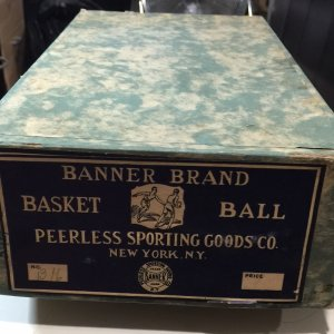 1930's Unused New-In-Box Banner Brand Laced Basketball MINT Very RARE!