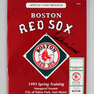 1993 Spring Training Boston Red Sox - Ted Williams Signed Program & Ticket - JSA