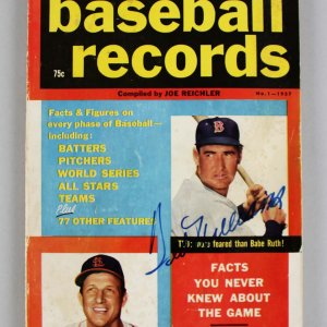 1957 Baseball Records (No.1) - Red Sox Ted Williams & Cardinals Stan Musial Signed Book - JSA