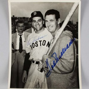 1953 Boston Red Sox - Lou Boudreau & Ted Williams Signed 7x9 Original News Photo - JSA