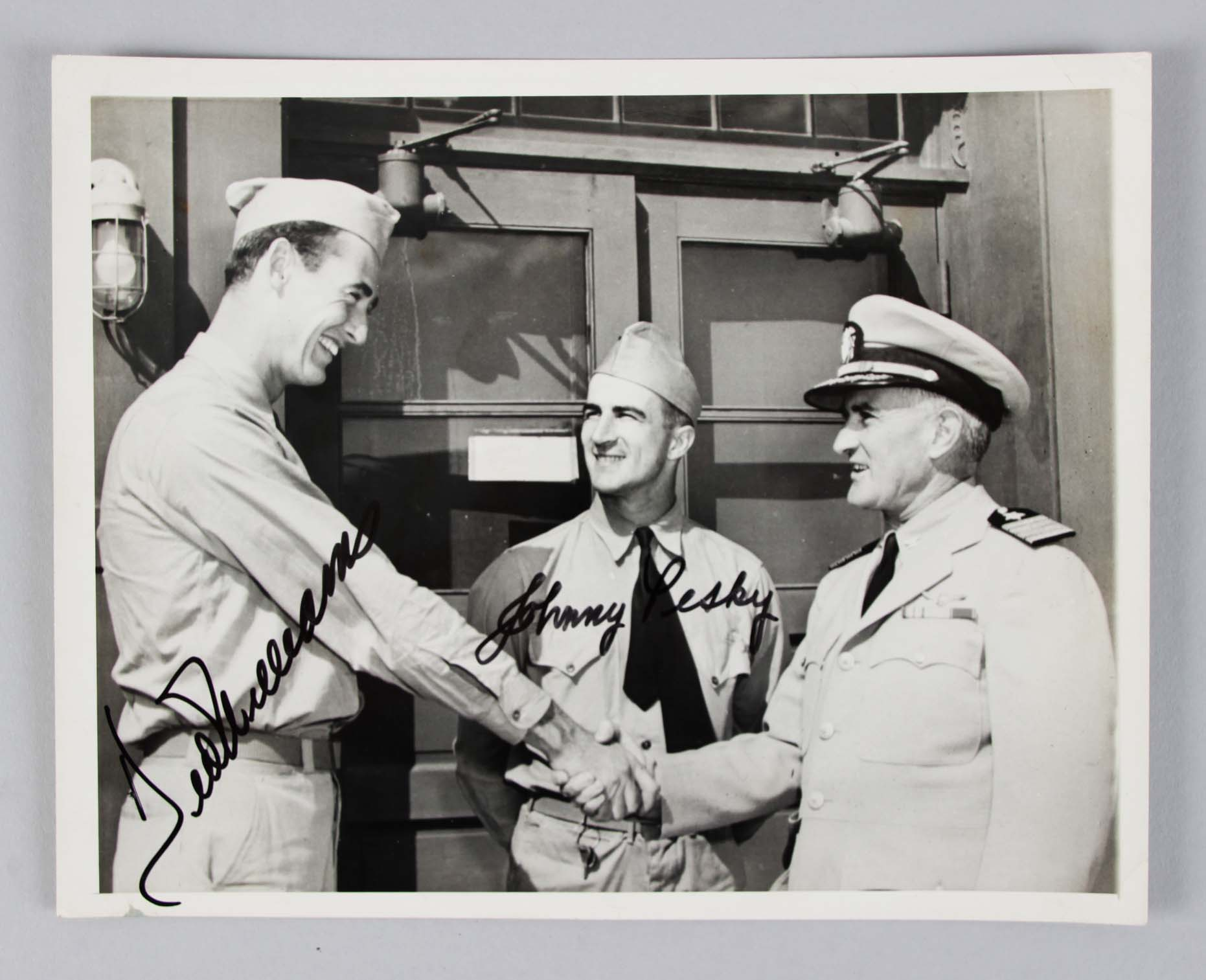 1942-43 Boston Red Sox - Ted Williams & Johnny Pesky Signed 7.5x9 Military Wire Photo - JSA