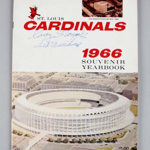 1966 St. Louis Cardinals Casey Stengel & Ted Williams Signed Souvenir Yearbook - JSA