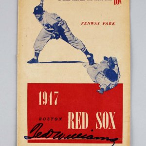June 17, 1947 Boston Red Sox - Ted Williams Signed Program & Score Card - JSA