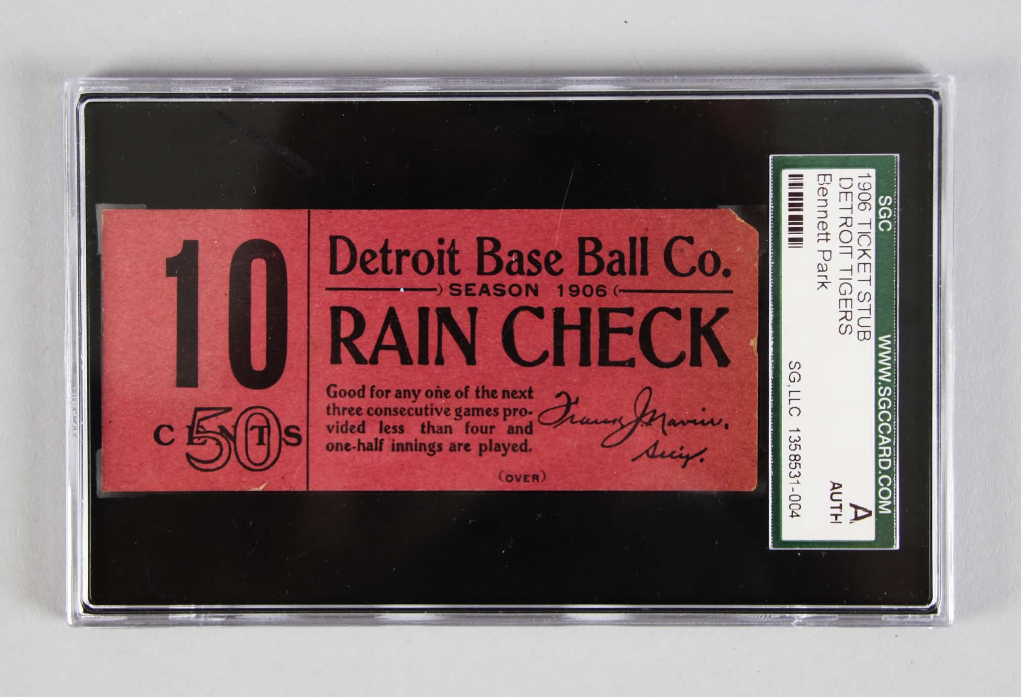 1906 Detroit Tigers Ticket Stub -Ty Cobb Rookie Season - SGC