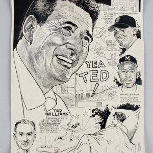 Bob Coyne's Sports Cartoon Boston Red Sox The Ted Williams Yea Ted ! 9/1/2 x 13 1/2 Art