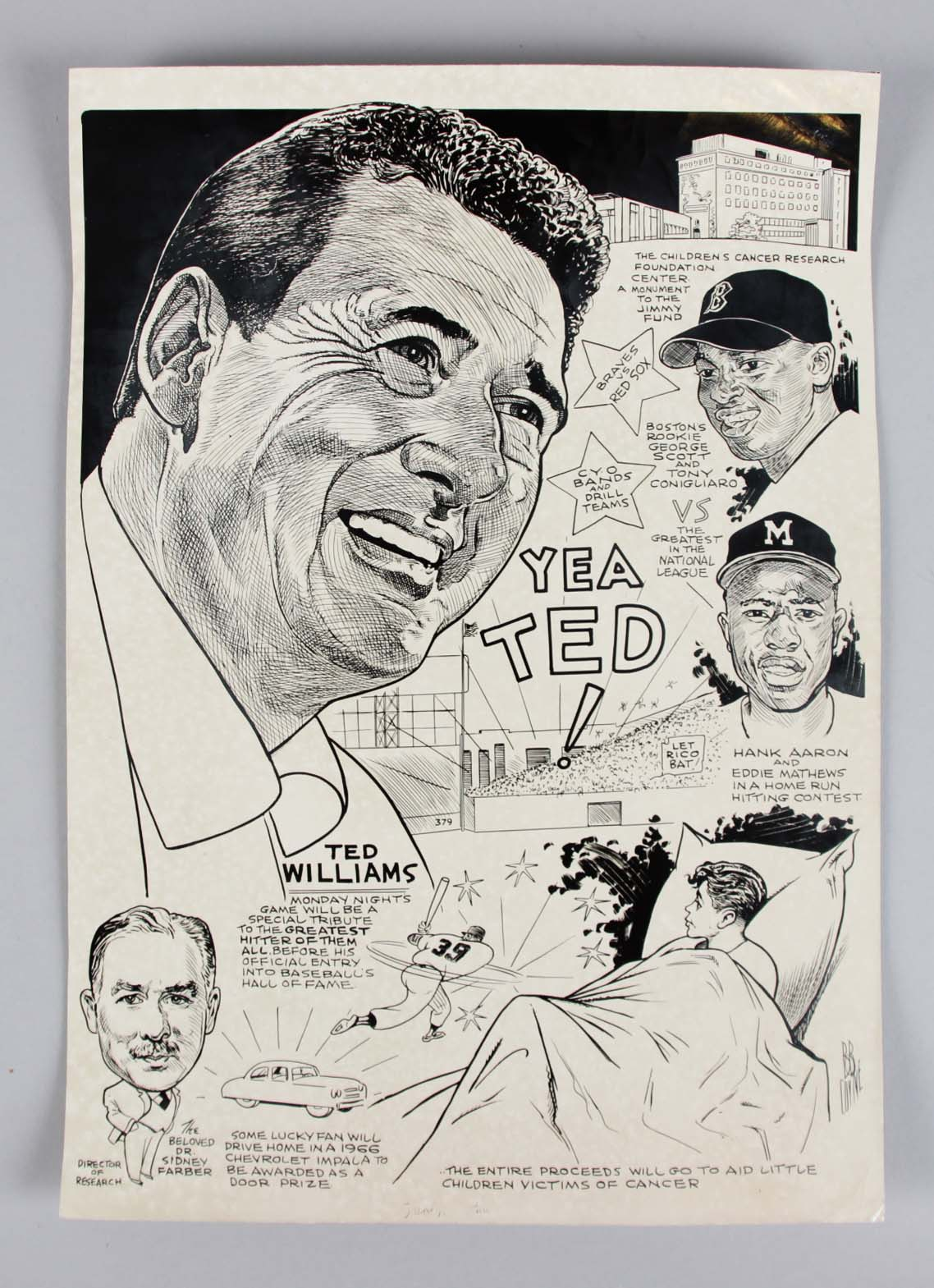 Bob Coyne's Sports Cartoon Art Ted Williams Red Sox