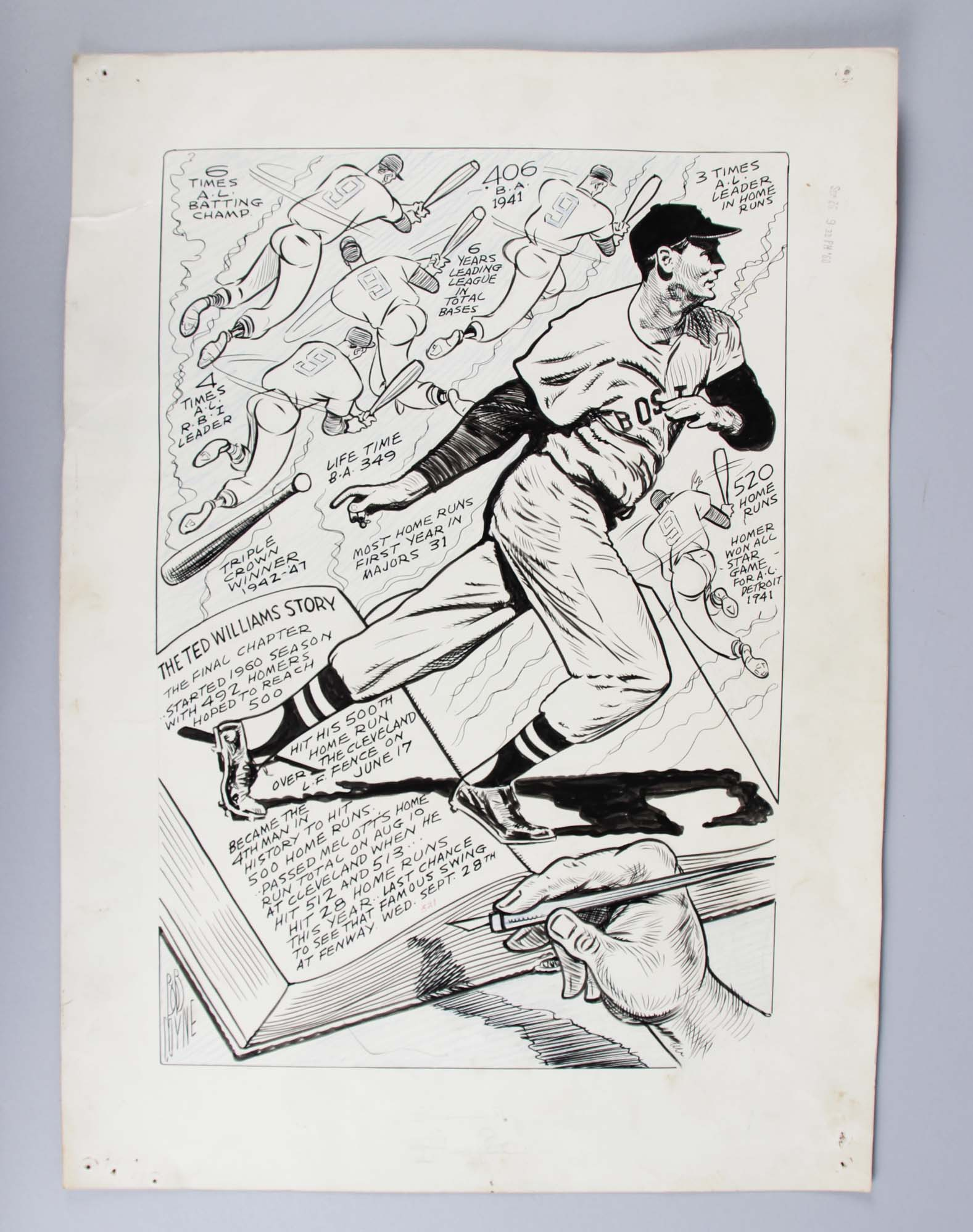 Bob Coyne's Sports Cartoon Boston Red Sox The Ted Williams Story 16x22 Original Art