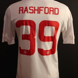 A Marcus Rashford Game-Used #39 Manchester United FC Away Shirt.  2015/16 FA Cup.