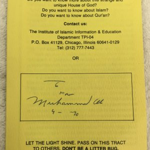 "Muhammad Ali Signed, Inscribed, and Dated ""A Strange and Unique House"" Pamphlet"