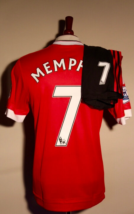25e500544 A Memphis Depay Game-Used  7 Manchester United Uniform (Shirt and Shorts).  2015 16 English Premier League.