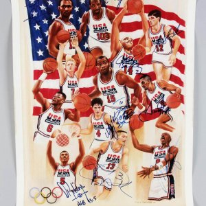 1992 Dream Team I Olympic Basketball Team-Signed Poster 10 Sigs. Michael Jordan, Johnson etc. - JSA Full LOA