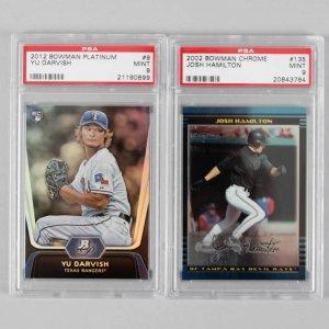 2012 Yu Darvish (RC) & 2002 Josh Hamilton Graded Baseball Cards - PSA MINT 9