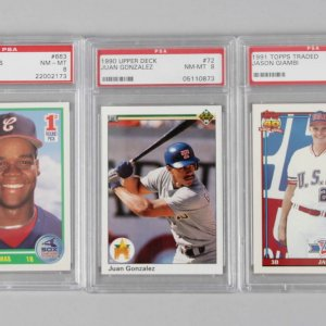 (2) 1990 & (1) 1991 Topps Traded, Score & UD Graded Baseball RC Cards - PSA