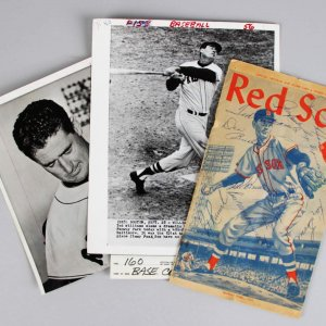 1960 Red Sox Signed Official Program (Ted Williams Last Game) -10 Sigs.- & (2) Wire Photos - JSA