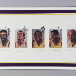 Lakers Legends Signed LE Litho (Signed by Chamberlain, West, Johnson, Baylor, Abdul-Jabbar) - JSA