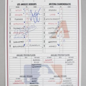 June 13, 2016 - Dodgers ROY - Corey Seager Signed Home Run (#15) Lineup Card COA JSA MLB Hologram