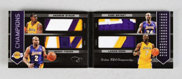 2011 Panini Black Box Los Angeles Lakers Champions Game Worn Quad Patch Card Kobe Bryant 23/25
