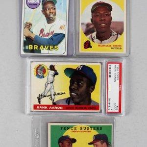 Atlanta Braves - Hank Aaron (4) Card Lot 1955 Topps #47 PSA Graded GD 2, (2) 1959 & 1969