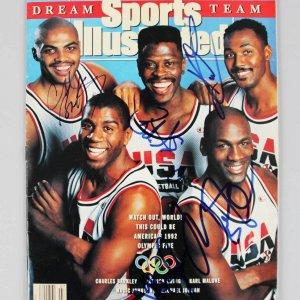 1992 Olympic Dream Team Signed Sports Illustrated 5 Sigs. Michael Jordan, Ewing, Malone etc. JSA Full LOA