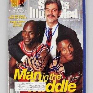 1991 Chicago Bulls - Michael Jordan, Scottie Pippen & Phil Jackson Signed Sports Illustrated Magazine - JSA Full LOA