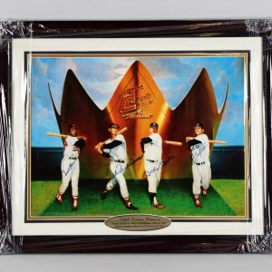 Triple Crown Winners Signed Color 18x24 Lithograph Mantle, Williams, Yaz & Robinson - JSA Full LOA