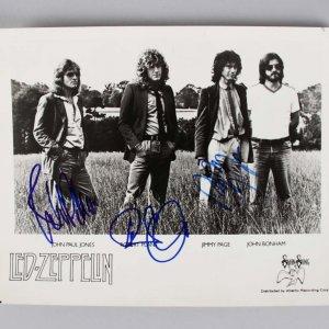 Led Zeppelin - Jimmy Page, Robert Plant & John Paul Jones Signed 8x10 Photo - JSA Full LOA