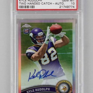 2011 Topps Chrome Vikings Kyle Rudolph Signed AUTO Refractor Rookie Card 20/99 PSA Graded GEM MT 10