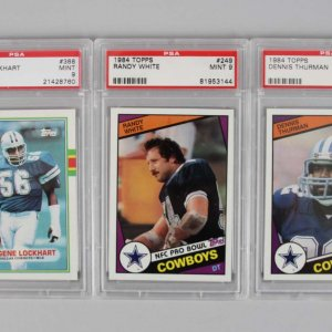 Dallas Cowboys PSA MINT 9 Graded Topps Card Lot - 1984 Randy White & Dennis Thurman +'89 Eugene Lockhart