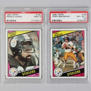Pittsburgh Steelers 1984 Topps PSA Graded Card Lot - Terry Bradshaw NM-MT+ 8.5 & Franco Harris MINT 9