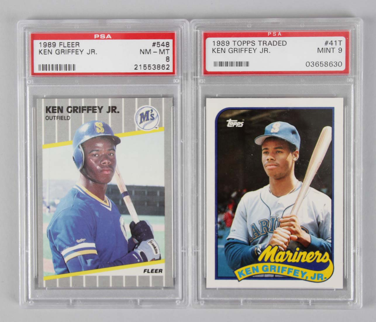 5a6f1a81a6 1989 Seattle Mariners – Ken Griffey, Jr. Rookie PSA Graded Card RC Lot –  Topps.
