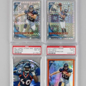 2010 '11 Broncos Topps Chrome / Finest PSA Graded 4 Card Rookie Lot Tim Tebow, Demaryius Thomas & Von Miller