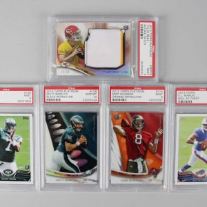 NFL Backup Squad PSA Graded Rookie (5) Card Lot Geno Smith, Tyler Bray, E.J. Manuel, Matt Barkley & Glennon