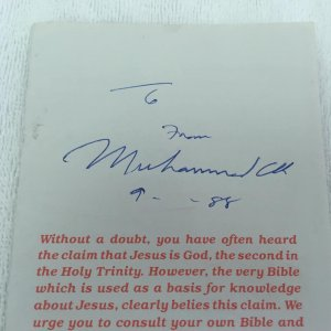 Muhammad Ali signed and inscribed Islamic Pamphlet ONE OF A KIND