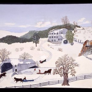 "1943 Grandma Moses' The Old Covered Bridge Oil on Canvas (36""x45"")"
