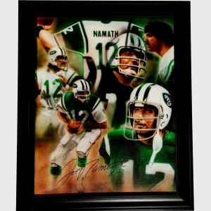 Joe Namath Jets Autographed 1 Of A Kind Hand Painted Canvas