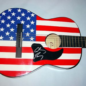 COWBOY TROY Autographed Signed USA FLAG Guitar & Proof PSA AFTAL UACC RD
