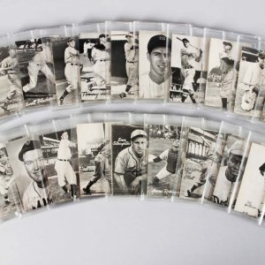 1949 Bond Bread Exhibit Baseball (Square) Card Reissue Set (24) Incl. Stan Musial, Jackie Robinson, Ted Williams etc.