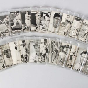 1949 Bond Bread Exhibit Baseball (Square) Card Reissue Set (27) Incl. (3) Stan Musial, Jackie Robinson, Ted Williams etc.