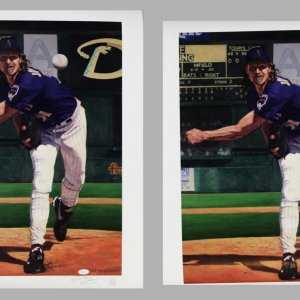 Pair of Arizona Diamondbacks - Randy Johnson Signed LE 20x24 Lithographs - COA JSA