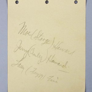 Vintage 1930's Three Stooges Signed Paper Leaf. Unique Early Example with Full Signatures including Surnames