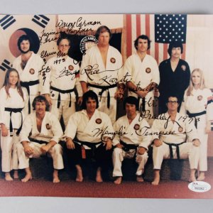 Elvis Presley Karate Instructors Kang Rhee & Wayne Carmen Signed & Inscribed 8x10 Photo JSA Full Letter